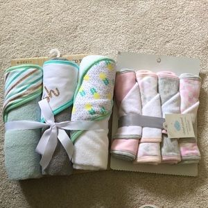 4 pack Burp cloths and 3 hooded towels